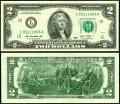 2 доллара 2013 США (L), банкнота, хорошее качество XF