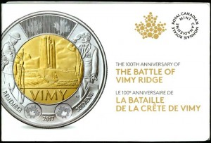 2 dollars 2017 Canada The Battle of Vimy Ridge 5 coins per pack
