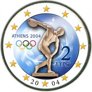 2 euro 2004 Greece, Summer Olympic Games (iscus throw) (colorized)