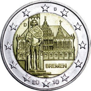 2 euro 2010 Germany, Town Hall of Bremen, mint D