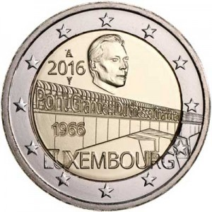 2 euro 2016 Luxembourg, 50 Years of Grand Duchess Charlotte Bridge