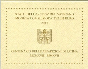 2 euro 2017 Vatican, the apparitions of the Virgin Mary in Fatima