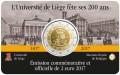 2 евро 2017 Бельгия, 200 лет университету Льежа, в блистере
