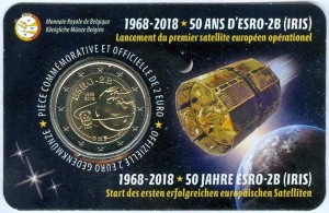 2 euro 2018 Belgium, 50 years of launching the first European satellite, in blister