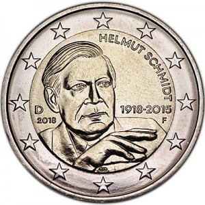 2 euro 2018 Germany Helmut Schmidt, mint mark F