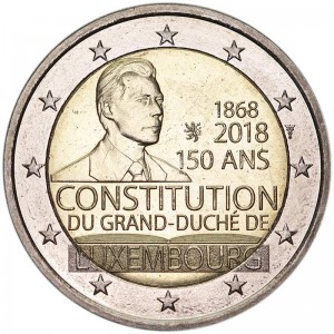 2 euro 2018 Luxembourg, 150 years of Constitution