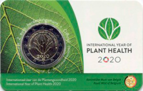 2 euro 2020 Belgium, International Year of Plant Health, in blister