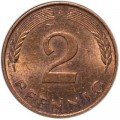 2 pfennig 1950-1996 Germany, from circulation