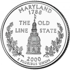 25 cents Quarter Dollar 2000 USA Maryland mint mark D