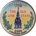 25 cent Quarter Dollar 2000 USA Maryland (farbig)