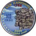 25 cent Quarter Dollar 2000 USA New Hampshire(farbig)