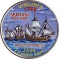 25 cent Quarter Dollar 2000 USA Virginia (farbig)