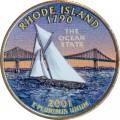 25 cent Quarter Dollar 2001 USA Rhode Island (farbig)
