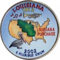 25 cent Quarter Dollar 2002 USA Louisiana (farbig)