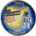 25 cent Quarter Dollar 2002 USA Ohio (farbig)