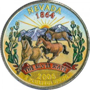 25 cents Quarter Dollar 2006 USA Nevada (colorized)