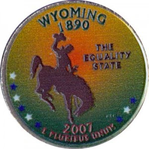 25 cents Quarter Dollar 2007 USA Wyoming (colorized)