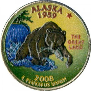 25 cents Quarter Dollar 2008 USA Alaska (colorized)