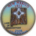 25 cents Quarter Dollar 2008 USA New Mexico (colorized)