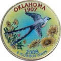 25 cents Quarter Dollar 2008 USA Oklahoma (colorized)