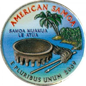 25 cents Quarter Dollar 2009 USA American Samoa (colorized)