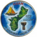 25 cents Quarter Dollar 2009 USA Guam (colorized)