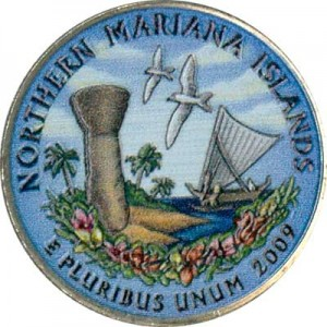 25 cents Quarter Dollar 2009 USA Nothern Mariana Islands (colorized)