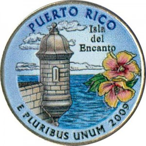 25 cents Quarter Dollar 2009 USA Puerto Rico (colorized)