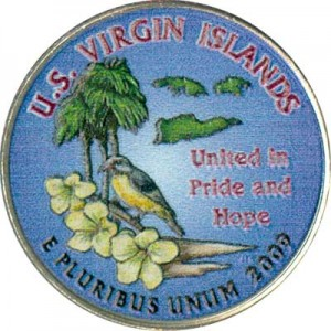 25 cents Quarter Dollar 2009 USA Virgin Islands (colorized)