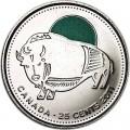 25 центов 2011 Канада, Бизон (цветная), отличное состояние