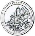 """25 центов 2012 США """"Акадия"""" (Acadia) 13-й парк двор S"""