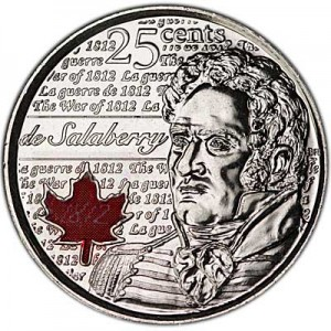 25 cents 2013 Canada, Charles de Salaberry, colored