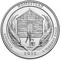 25 cents Quarter Dollar 2015 USA Homestead National Monument of America 26th National Park, mint mark P