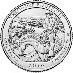 25 cents Quarter Dollar 2016 USA Theodore Roosevelt 34th National Park, mint mark D