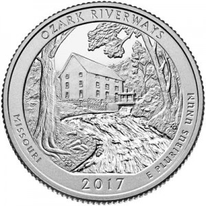25 центов 2017 США Озарк (Ozark National Scenic Riverways), 38-й парк, двор S