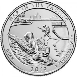 25 cents Quarter Dollar 2019 USA War in the Pacific 48th Park, mint mark P