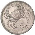 5 центов 1986 Мальта Краб, из обращения