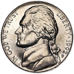 5 cents (Nickel) 1992 USA, P