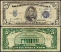 5 долларов 1934 B США серебряный сертификат с синей печатью, банкнота, VF-VG