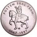 5 крон 1997 Норвегия, 350 лет почтовой службе
