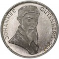 5 марок 1968, Иоганн Гутенберг, серебро