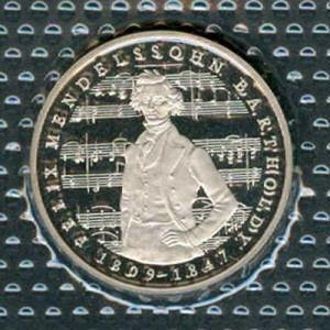 5 marks 1984 Germany Felix Mendelssohn proof