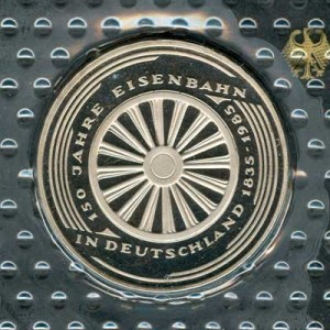 5 marks 1985 Germany 150 years of German railway, proof