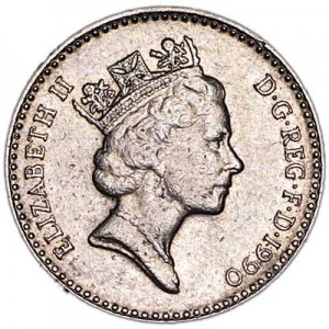 5 pence 1990 United Kingdom, from circulation