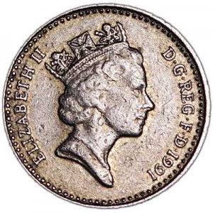 5 pence 1991 United Kingdom, from circulation