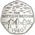 50 пенсов 2015 Великобритания 75 лет Битве за Британию, из обращения