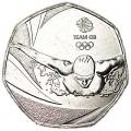 50 пенсов 2016 Великобритания XXXI летние Олимпийские Игры, Рио-де-Жанейро, из обращения