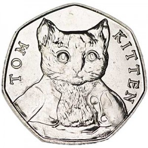 50 pence 2017 United Kingdom 150th Birthday Beatrice Potter, Kitten Tom
