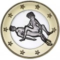 6 sex euros badge coin, type 18