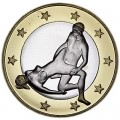 6 sex euros badge coin, type 19